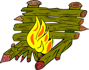 feuer mit Wärmeschirm